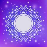 Festive template, snowflake, frame for New Year and Christmas. White festive frame, mandala, snowflake on a blue lilac background with stars. Template for New Stock Image