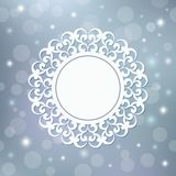 Festive template, snowflake, frame for New Year and Christmas. White festive frame, mandala, snowflake on a silver background with stars.Template for New Year`s Stock Photo