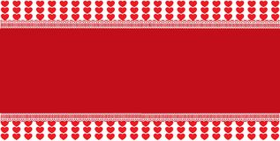 Festive template with space for text on red and white hearts bac. Kground ramed with lace. Abstract design element. Christmas, new year, valentines vector love Stock Photos