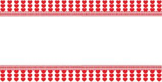 Festive template with space for text on white striped hearts bac. Kground framed with lace. Abstract design element. Christmas, new year, valentines vector Stock Images