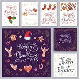 Festive templates with different traditional Christmas symbols and decoration. Vintage style. For your design, announcements, vector illustration