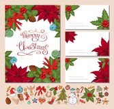 Festive templates with different traditional Christmas symbols and decoration. Vintage style. For your design, announcements, stock illustration