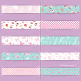 Festive textile ribbons set. Festive ribbons set. Decorative elements for birthday, baby shower design. Seamless patterns are full under clipping mask Royalty Free Stock Photography