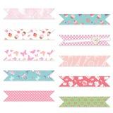 Festive textile ribbons set on white. royalty free illustration