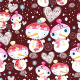 Festive texture of the snowmen. Bright New Year seamless pattern of love snowmen on a dark burgundy background Stock Image