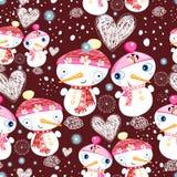 Festive texture of the snowmen Stock Image