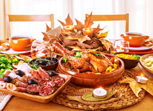 Festive Thanksgiving day dinner Royalty Free Stock Images