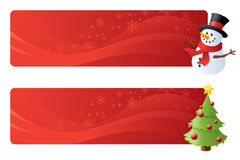 Festive Toppers. Swirly red festive page headers with snowman and christmas tree Royalty Free Stock Image