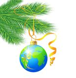Festive toy ball as a planet Earth. Hangs on the green branch of tree,  vector  illustration Royalty Free Stock Images