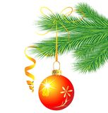Festive toy a ball hangs on the green branch of tree. Vector  illustration Royalty Free Stock Photos