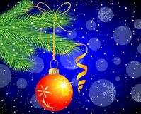 Festive toy a ball hangs on the green branch of tree. Vector  illustration Royalty Free Stock Photography