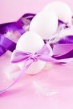 Festive traditional easter egg decoration purple Stock Photos