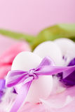 Festive traditional easter egg decoration ribbon and tulips Royalty Free Stock Images