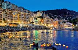 Festive traditional holiday illumination Stella Maris. In Camogli assignment files royalty free stock photography