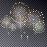 Festive transparent firework bursting in various shapes  i. Solated illustration on dark background. Fireworks light effect for your design Stock Photo