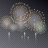 Festive transparent firework bursting in various shapes vector isolated illustration on dark backgr. Ound. Fireworks light effect for your design Stock Image