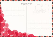 Festive travel postcard illustration with hearts. Postal background Royalty Free Stock Images