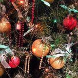 Festive tree. Christmas lights beauty Stock Photo