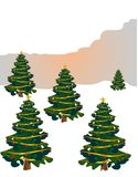 Festive Trees, for Xmas and happy holidays Royalty Free Stock Image