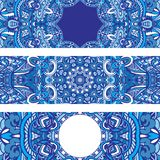 Festive tribal ornamental blue geometric ethnic banner set. Ornamental blue geometric ethnic banner set. medallion pattern design for fabric. winter holoday Stock Images