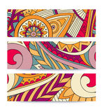 Festive tribal vintage ethnic banner. Hand-drawn vector doodles Royalty Free Stock Photo