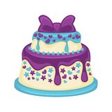 Festive two-tier cake with beautiful purple bow on white. Background. Sweet dessert with glaze streaks, small hearts and stars on blue substrate. Vector Royalty Free Stock Photo