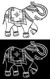 Festive typical indian elephant. Traditional indian elephant decorated for special occasion black and white background. Vector file available Royalty Free Stock Photography