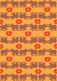 Festive typical indian elephant orange background. Traditional indian elephant pattern background. Vector file available Stock Photography
