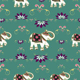 Festive typical indian elephant pattern. Traditional indian elephant decorated for special occasion pattern background . Vector illustration layered for easy Royalty Free Stock Photos