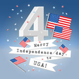 Festive USA independence day greeting card. 4 July festive composition postcard with letter 4, USA state flag and paper ribbons with greetings and flying Royalty Free Stock Image