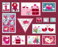 Festive The Valentine's Stamps Royalty Free Stock Photography