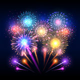 Festive vector background, poster with firework rockets bursting. Sparkling effect firework and pyrotechnic realistic firework explode illustration Stock Photo