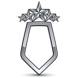 Festive vector emblem with silver outline and five pentagonal st Royalty Free Stock Images