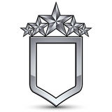Festive vector emblem with silver outline and five pentagonal st Stock Photo
