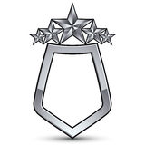Festive vector emblem with silver outline and five pentagonal st Royalty Free Stock Photography