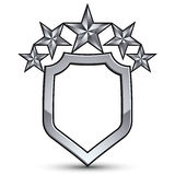Festive vector emblem with silver outline and five stars Royalty Free Stock Images