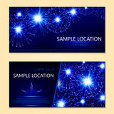 Festive vector fireworks and the location of the text Stock Photography