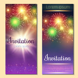 Festive vector fireworks and the location of the text. Festive night fireworks on a dark background Royalty Free Stock Photos