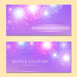 Festive vector fireworks and the location of the text. Festive fireworks with sample text Royalty Free Stock Photography