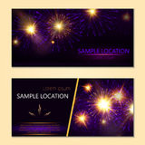 Festive vector fireworks and the location of the text. Festive fireworks with sample text Royalty Free Stock Images
