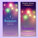 Festive vector fireworks and the location of the text. Festive fireworks with sample text Royalty Free Stock Photos
