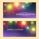 Festive vector fireworks and the location of the text. Festive fireworks with sample text Stock Images
