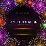 Festive vector fireworks and the location of the text. Festive fireworks with sample text Royalty Free Stock Photo