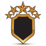 Festive vector golden shield emblem with five stars, 3d branded Royalty Free Stock Image