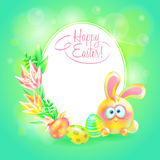 Festive vector ground. Happy Easter. Easter bunny, eggs and flower in bright background. Space for text. Design a. Greeting card or banner Royalty Free Stock Photography