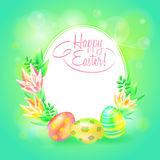 Festive vector ground. Happy Easter. Easter eggs and flower in bright background. Frame and space for text. Design a Stock Image