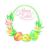 Festive vector ground. Happy Easter. Easter eggs and flower in white background. Frame and space for text. Design a Royalty Free Stock Image