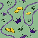 Festive vector seamless pattern. Mardi Gras Festival vector illustration