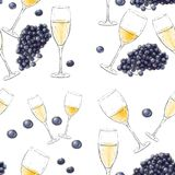Festive vector seamless pattern with wine glasses and grapes on a white background. Festive vector seamless pattern with wine glasses and grapes on a white Royalty Free Stock Photos