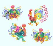 Festive vector set of cute roosters and raccoons, Chinese new year. Royalty Free Stock Image